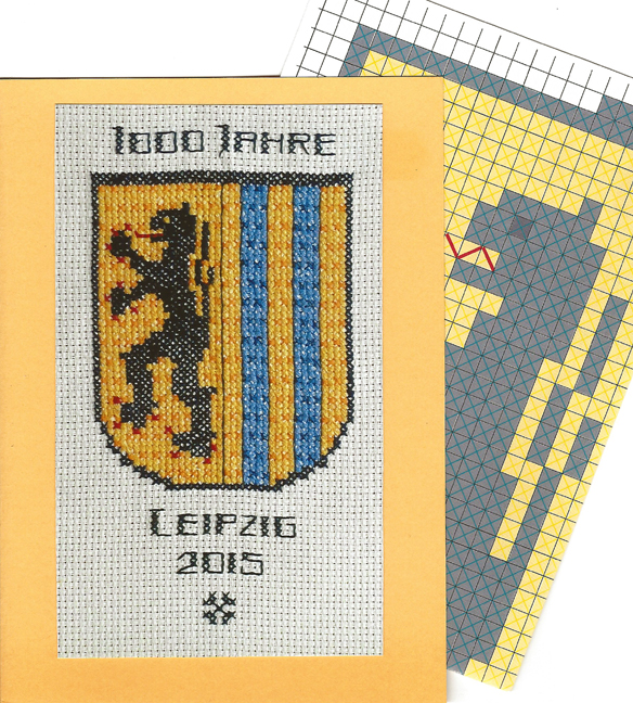 1000 years of Leipzig – folded greeting card with embroidery design<br><br>