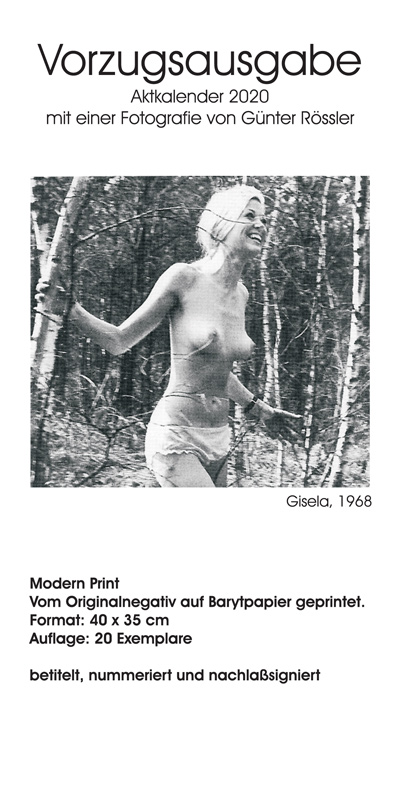 Aktfoto-Kalender Günter Rössler 2020 - Vorzugsausgabe