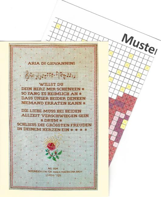 """Johann Sebastian Bach <br> """"Aria di Giovannini"""" – Faltkarte mit Stickmusterbogen<br><br>"""